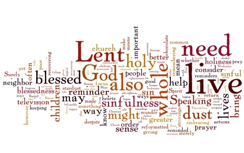 Image sourced from hisheartmysong.wordpress.com. See? There are even cool Wordles about Lent. Word to your momma.